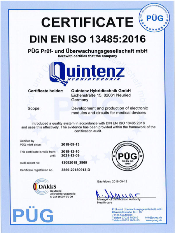 The Quality Management of the Quintenz Hybridtechnik GmbH is certificated under ISO-13485