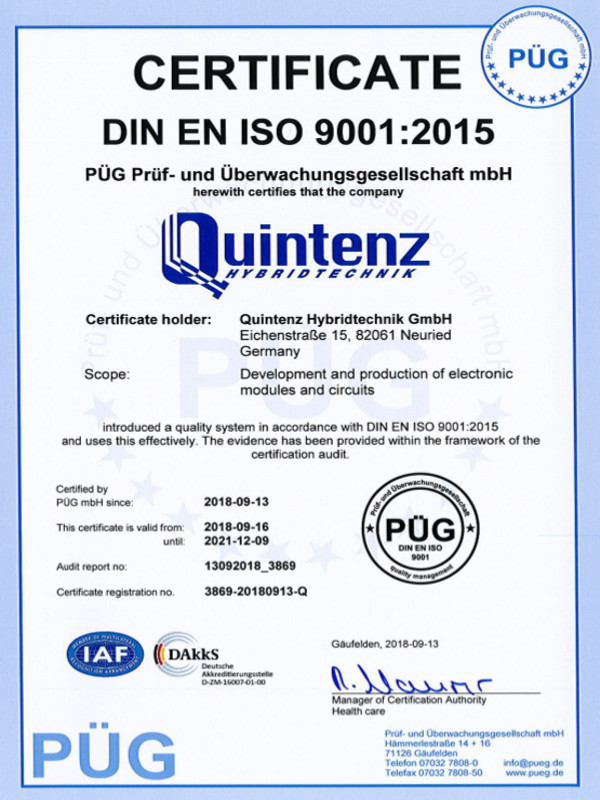 The Quality Management of the Quintenz Hybridtechnik GmbH is certificated under ISO-9001